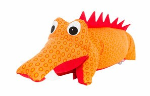 Kuscheltier / Kissen Krokodil orange-rot