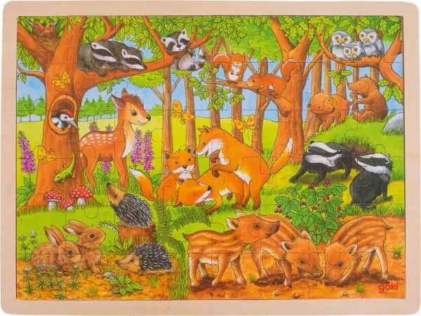 Einlegepuzzle Tierkinder im Wald