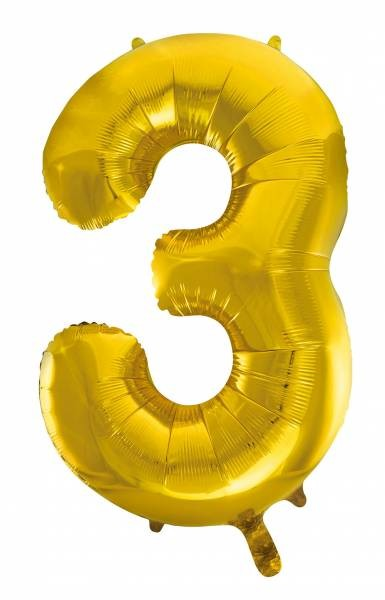 "Folienballon Zahl ""3"" ca.100 cm, Gold"