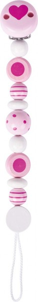Schnullerkette Perlen gestreift und gepunktet, rosa