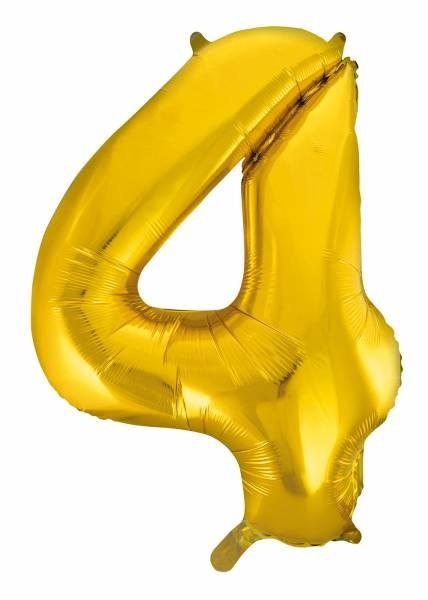 "Folienballon Zahl ""4"" ca.100 cm, Gold"