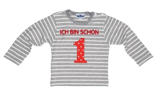 """Langarmshirt """"Ich bin schon 1"""" grau/weiß"""