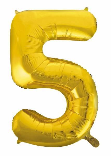 "Folienballon Zahl ""5"" ca.100 cm, Gold"