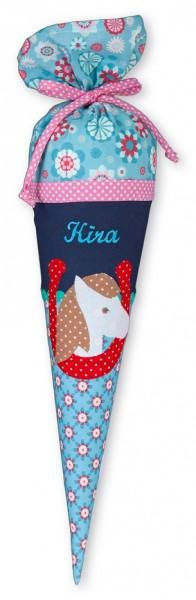 Geschwister-Schultüte mit oder ohne Namen / Pferd mit Hufeisen (Modell: Kira)