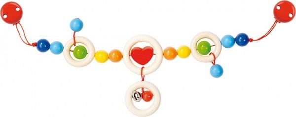 Kinderwagenkette Herz mit Clips