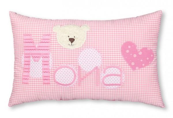 Namenskissen / Bärenkopf aus Teddyplüsch, rosa (Modell: Mona)
