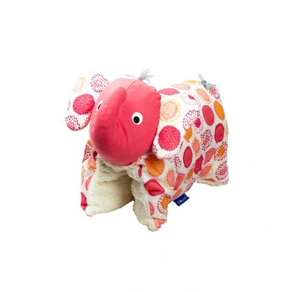 Kuscheltier / Kissen Elefant rot gemustert BIO