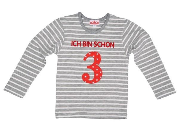 """Langarmshirt """"Ich bin schon 3"""" grau/weiß"""