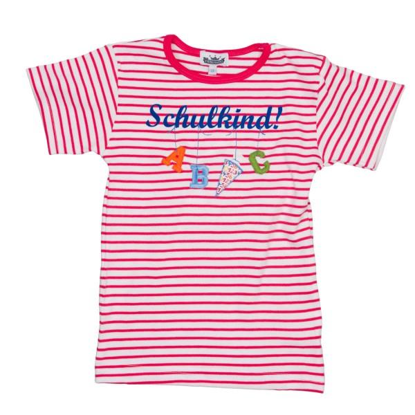 "T-Shirt ""Schulkind"" A,B,C Ringel pink/weiß"