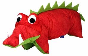 Kuscheltier / Kissen Krokodil rot-grün