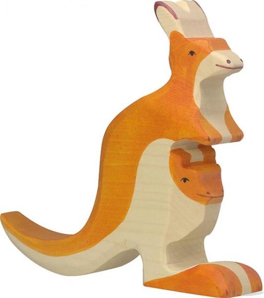 HOLZTIGER Känguru mit Jungem