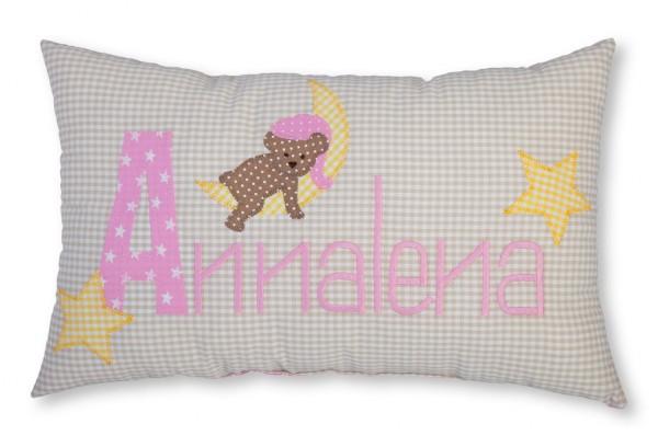 Namenskissen / Schlafbär auf dem Mond, rosa (Modell: Annalena)