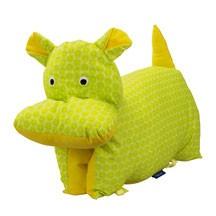Kuscheltier / Kissen Nilpferd grün-gelb