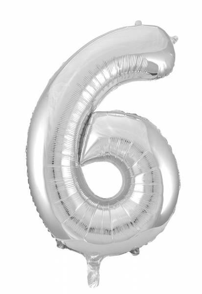 "Folienballon Zahl ""6"" ca.100 cm, Silber"