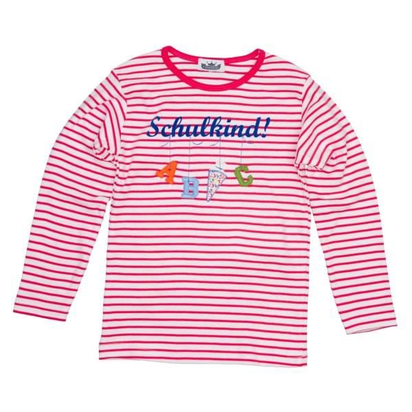 "Langarmshirt ""Schulkind"" A,B,C Ringel pink/weiß"
