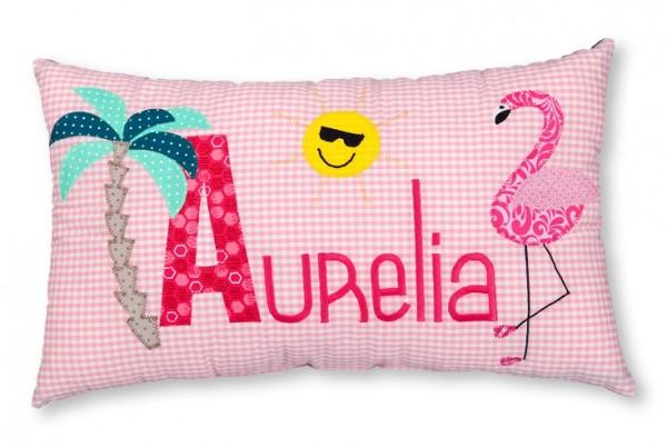 Namenskissen / Flamingo und Palme (Modell: Aurelia)