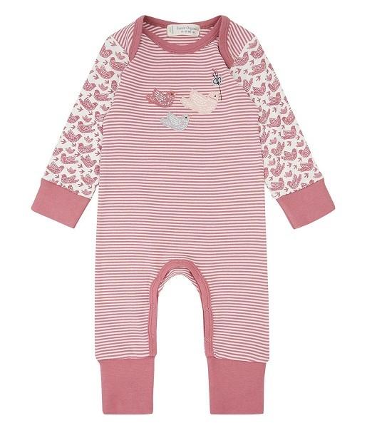 Baby Strampler / Schlafanzug WAYAN mit Vögel-Applikation