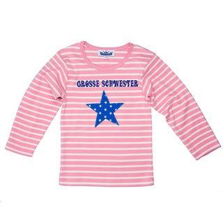 """Langarmshirt """"Kleine Schwester"""" mit Stern rosa/weiß"""