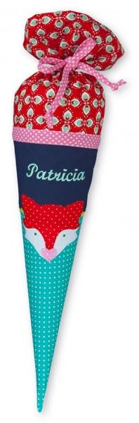 Geschwister-Schultüte mit oder ohne Namen / Fuchs (Modell: Patricia)