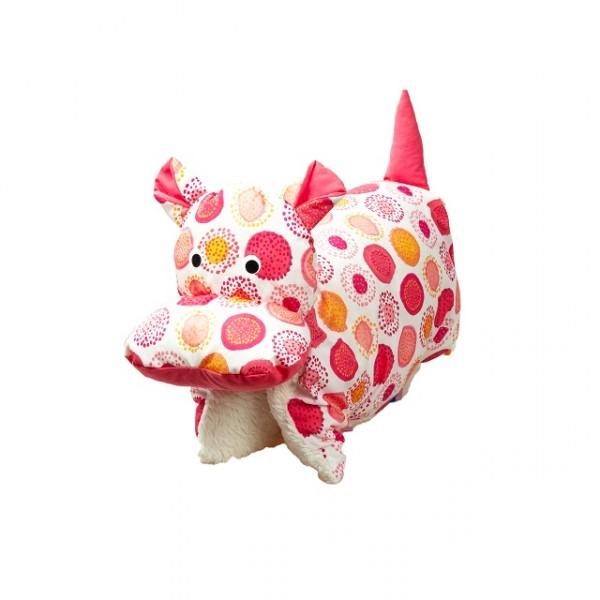 Kuscheltier / Kissen Nilpferd rot gemustert BIO