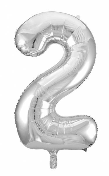 "Folienballon Zahl ""2"" ca.100 cm, Silber"