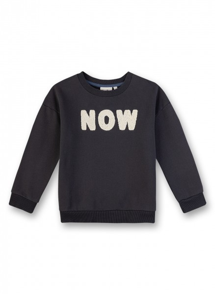 "Sweatshirt mit Flockprint ""Now"""