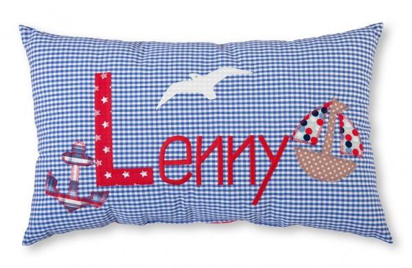 Namenskissen / Segelboot & Anker (Modell: Lenny)