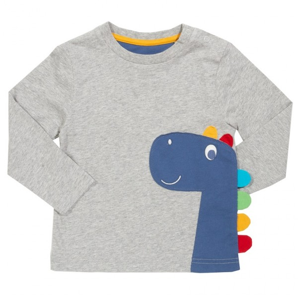 Langarmshirt mit Dinosaurier-Applikation