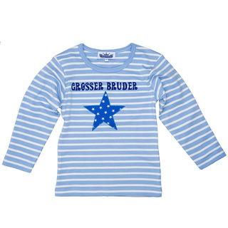 """Langarmshirt """"Großer Bruder"""" mit Stern hellblau/weiß"""