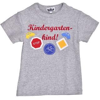 """T-Shirt """"Kindergartenkind"""" mit Verkehrszeichen grau"""