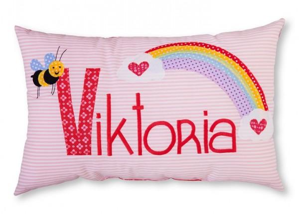 Namenskissen / Biene und Regenbogen (Modell: Viktoria)