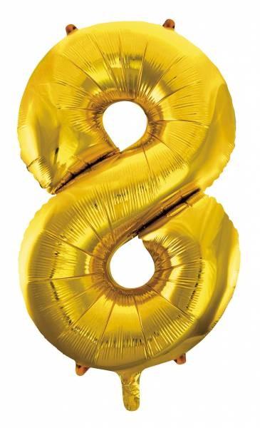 "Folienballon Zahl ""8"" ca.100 cm, Gold"