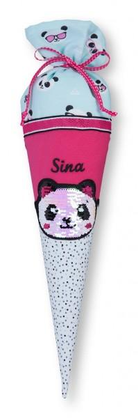 Geschwister-Schultüte mit oder ohne Namen / Panda mit Wendepailetten (Modell: Sina)