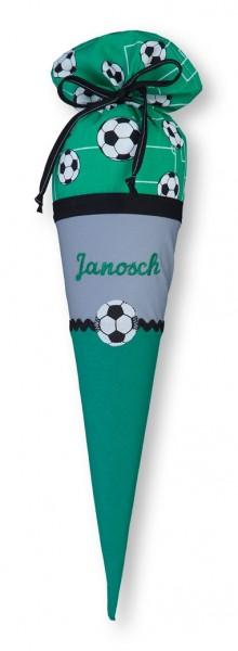 Geschwister-Schultüte mit oder ohne Namen / Fußball (Modell: Janosch)