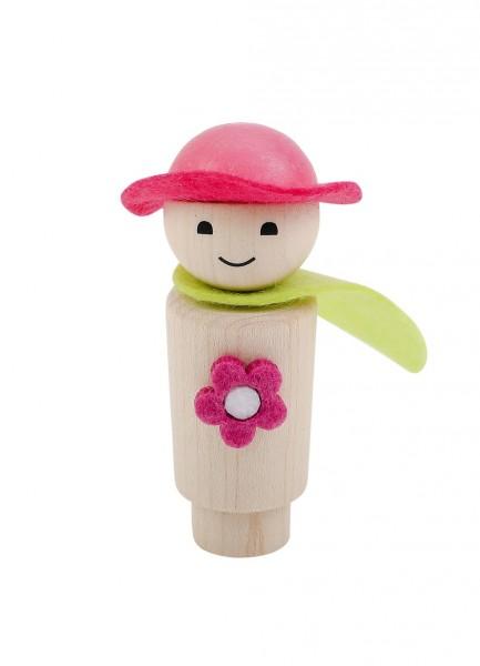Geburtstagskranz Steckfigur Blumenmädchen natur/pink