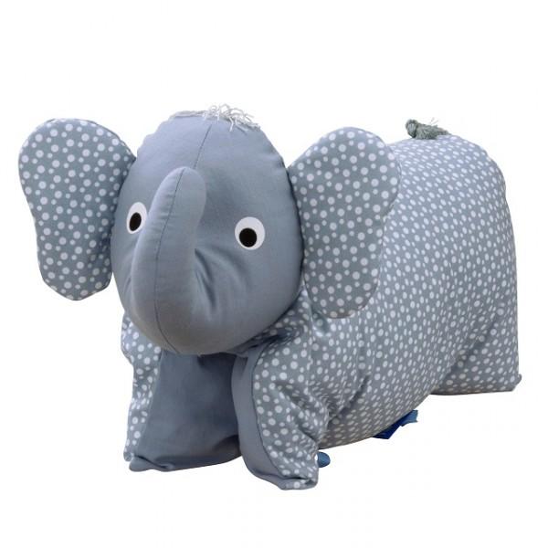 Kuscheltier / Kissen Elefant blau-taubenblau