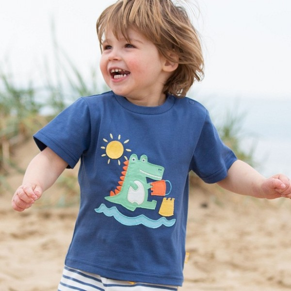 T-Shirt mit Krokodil-Applikation