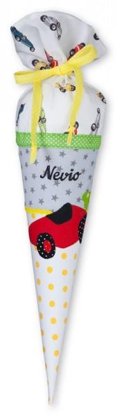 Geschwister-Schultüte mit oder ohne Namen / Rennauto (Modell: Nevio)