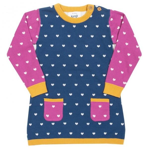 Strick-Kleid mit eingearbeiteten Herzchen