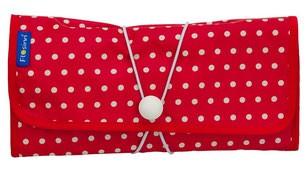 Wickeltasche / Mummy Clutch rot mit Punkten