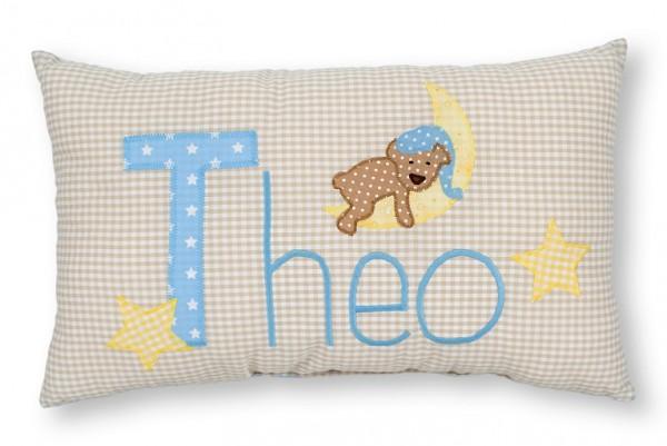 Namenskissen / Schlafbär auf dem Mond, blau (Modell: Theo)