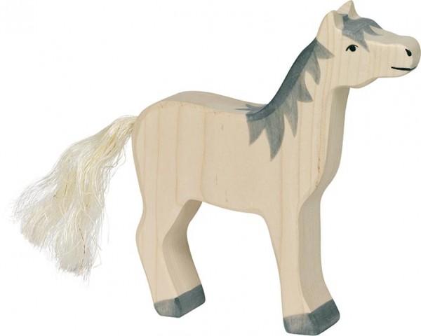 HOLZTIGER Pferd, Kopf hoch + graue Mähne