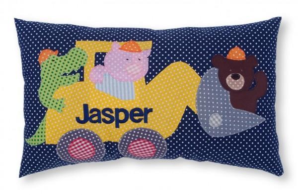 Namenskissen / Bagger mit Tieren (Modell: Jasper)