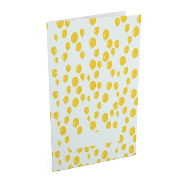 Doppelpostkarte/Glückwunschkarte I balloon yellow