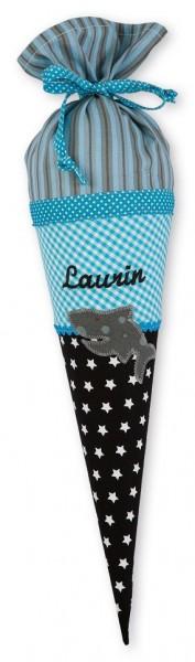 Geschwister-Schultüte mit oder ohne Namen / Hai (Modell: Laurin)