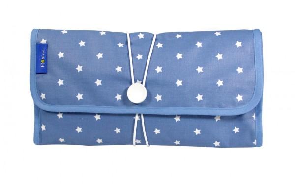 Wickeltasche / Mummy Clutch blau mit Sternen