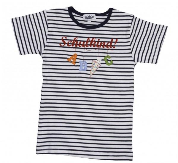 """T-Shirt """"Schulkind"""" A,B,C Ringel blau/weiß"""