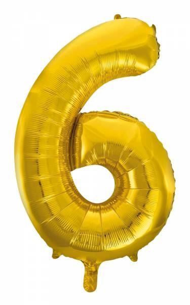 "Folienballon Zahl ""6"" ca.100 cm, Gold"