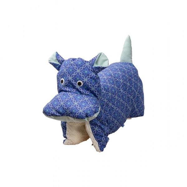 Kuscheltier / Kissen Elefant Blau gemustert BIO