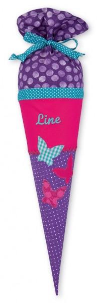 Geschwister-Schultüte mit oder ohne Namen / Schmetterlinge (Modell: Line)